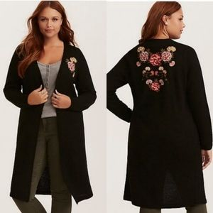 Torrid Floral Embroidered Duster Cardigan
